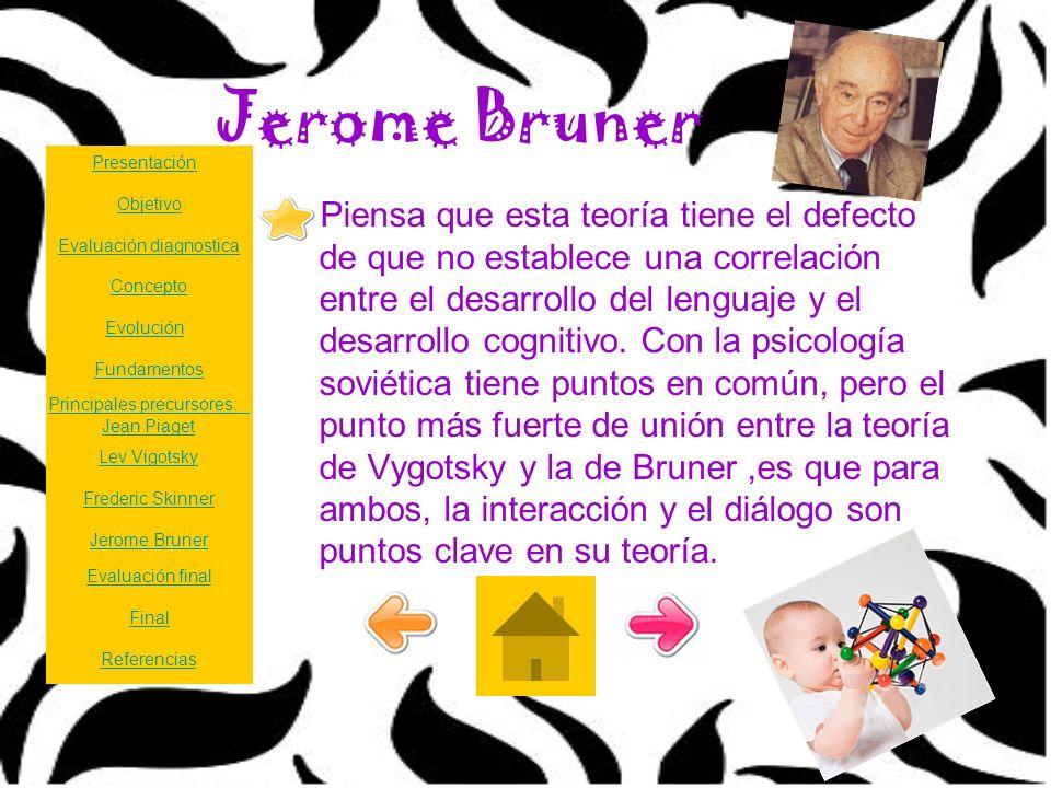Jerome Bruner Piensa que esta teoría tiene el defecto de que no establece una correlación entre el desarrollo del lenguaje y el desarrollo cognitivo.