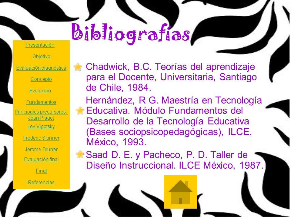 Bibliografías Chadwick, B.C. Teorías del aprendizaje para el Docente, Universitaria, Santiago de Chile, 1984. Hernández, R G. Maestría en Tecnología E