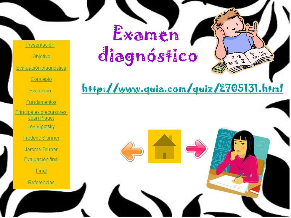 Examen diagnóstico http://www.quia.com/quiz/2705131.html Presentación Principales precursores: Jean Piaget Lev Vigotsky Frederic Skinner Jerome Bruner