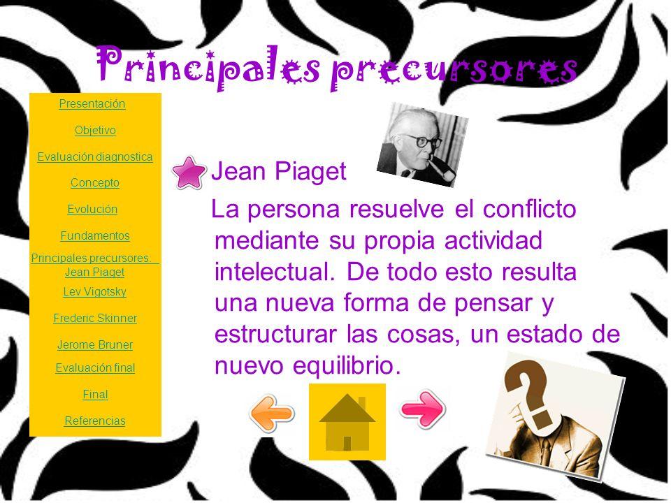 Principales precursores Jean Piaget La persona resuelve el conflicto mediante su propia actividad intelectual. De todo esto resulta una nueva forma de