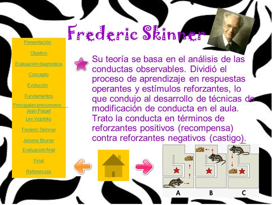 Frederic Skinner Su teoría se basa en el análisis de las conductas observables. Dividió el proceso de aprendizaje en respuestas operantes y estímulos