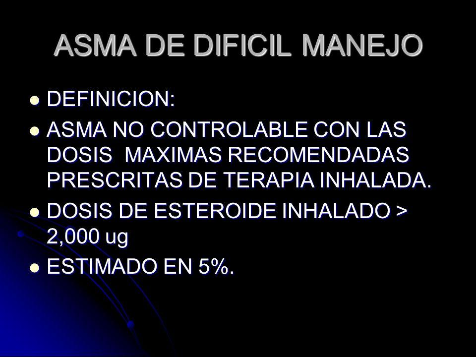 ASMA DE DIFICIL MANEJO DEFINICION: DEFINICION: ASMA NO CONTROLABLE CON LAS DOSIS MAXIMAS RECOMENDADAS PRESCRITAS DE TERAPIA INHALADA. ASMA NO CONTROLA