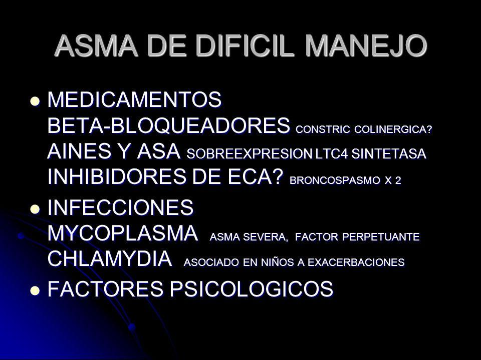 ASMA DE DIFICIL MANEJO MEDICAMENTOS BETA-BLOQUEADORES CONSTRIC COLINERGICA? AINES Y ASA SOBREEXPRESION LTC4 SINTETASA INHIBIDORES DE ECA? BRONCOSPASMO