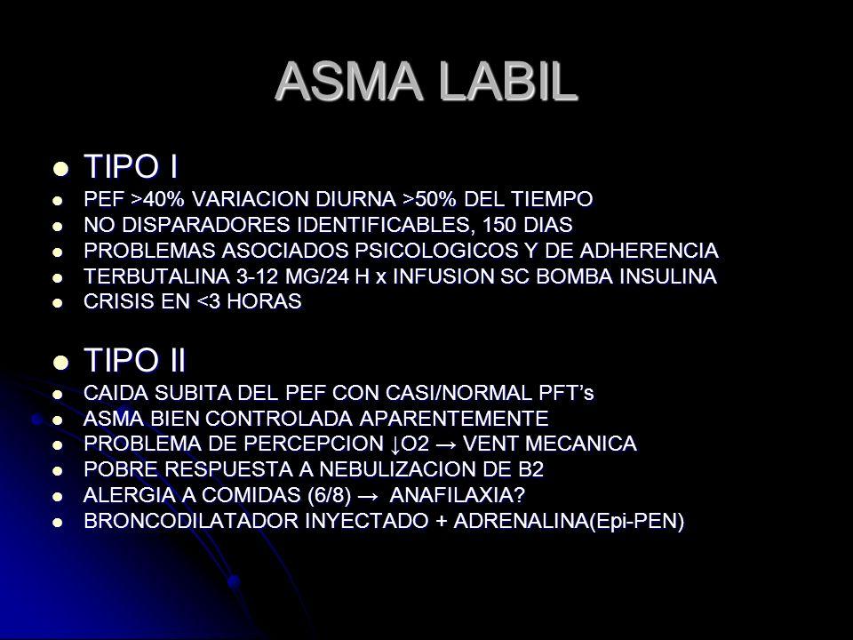 ASMA LABIL TIPO I TIPO I PEF >40% VARIACION DIURNA >50% DEL TIEMPO PEF >40% VARIACION DIURNA >50% DEL TIEMPO NO DISPARADORES IDENTIFICABLES, 150 DIAS