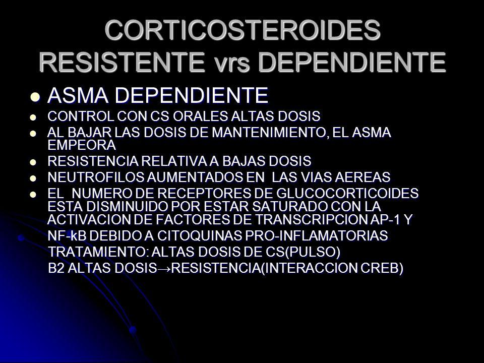 CORTICOSTEROIDES RESISTENTE vrs DEPENDIENTE ASMA DEPENDIENTE ASMA DEPENDIENTE CONTROL CON CS ORALES ALTAS DOSIS CONTROL CON CS ORALES ALTAS DOSIS AL B