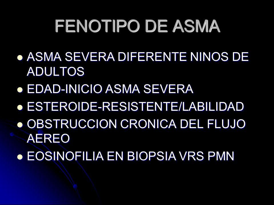 FENOTIPO DE ASMA ASMA SEVERA DIFERENTE NINOS DE ADULTOS ASMA SEVERA DIFERENTE NINOS DE ADULTOS EDAD-INICIO ASMA SEVERA EDAD-INICIO ASMA SEVERA ESTEROI