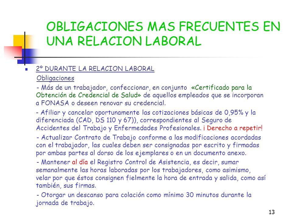 12 1º INICIO DE LA RELACION LABORAL Obligaciones - Solicitar al trabajador la autorización para contratar la prestación de sus servicios cuando es men