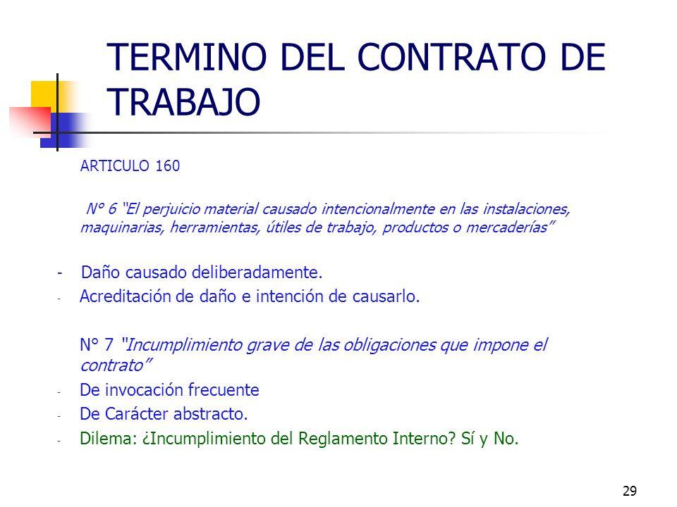 28 ARTICULO 160 N° 4 Abandono del trabajo por parte del trabajador: - salida intempestiva e injustificada del trabajador del sitio de la faena y duran