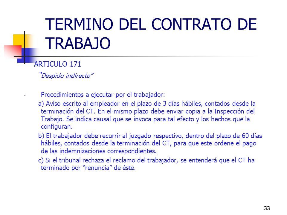32 ARTICULO 171 Despido indirecto - Trabajador despide al empleador. - Tiene lugar cuando el trabajador pone término al CT por haber incurrido el empl