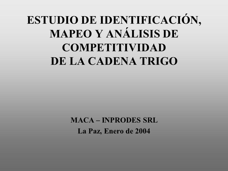 ESTUDIO DE IDENTIFICACIÓN, MAPEO Y ANÁLISIS DE COMPETITIVIDAD DE LA CADENA TRIGO MACA – INPRODES SRL La Paz, Enero de 2004