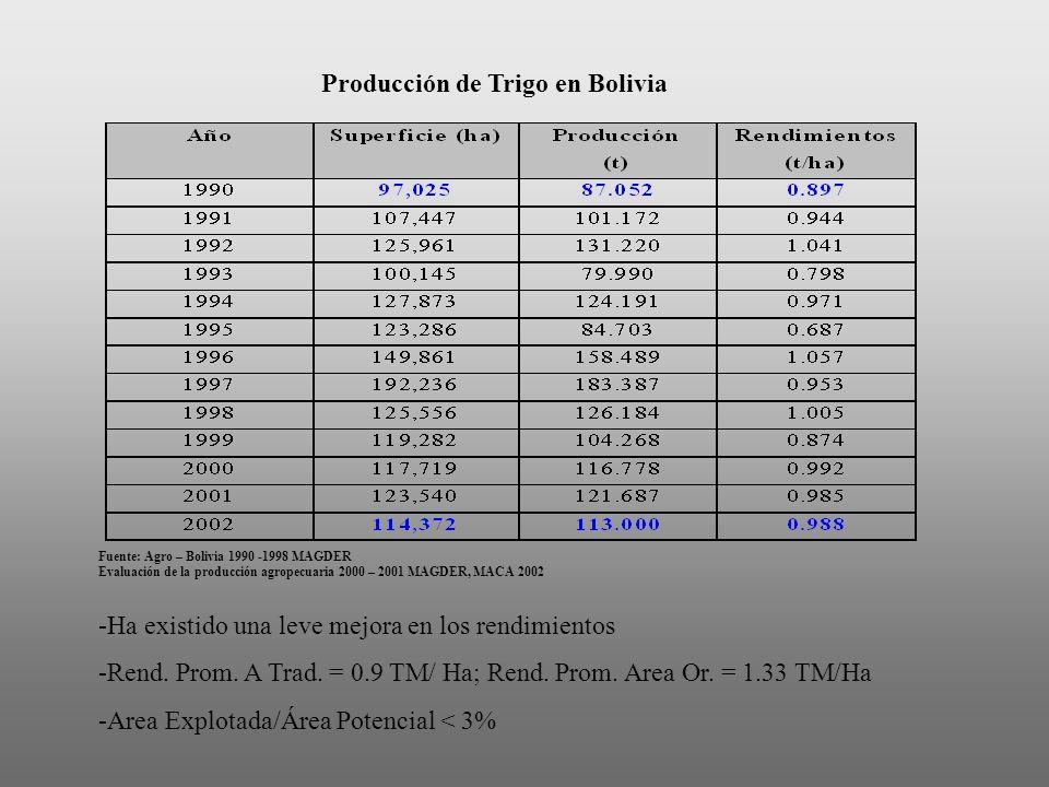 Fuente: Agro – Bolivia 1990 -1998 MAGDER Evaluación de la producción agropecuaria 2000 – 2001 MAGDER, MACA 2002 Producción de Trigo en Bolivia -Ha exi