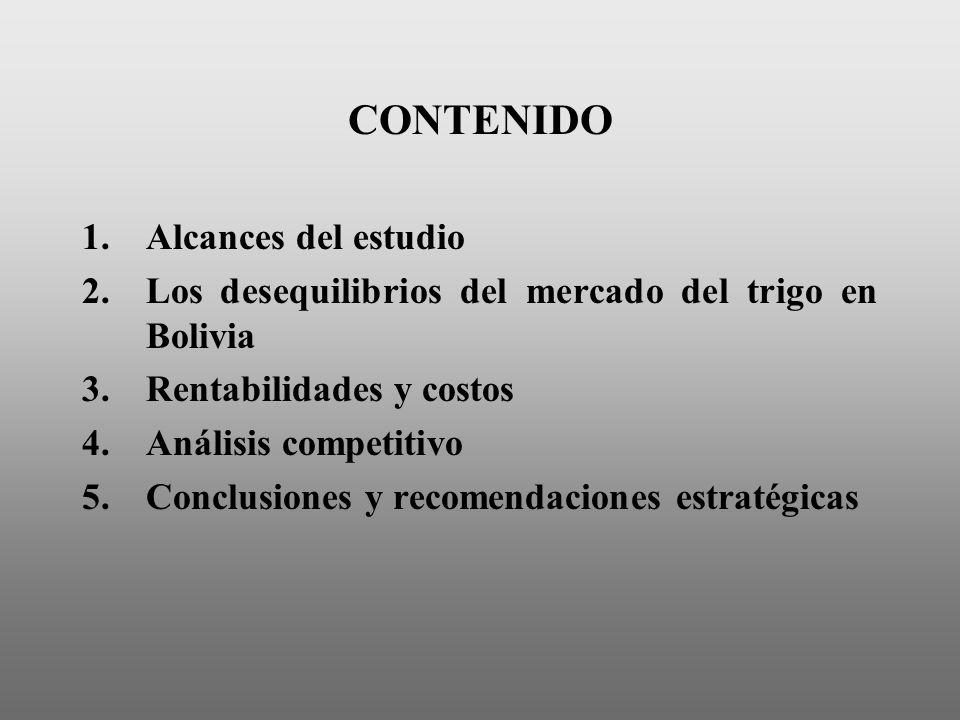 CONTENIDO 1.Alcances del estudio 2.Los desequilibrios del mercado del trigo en Bolivia 3.Rentabilidades y costos 4.Análisis competitivo 5.Conclusiones