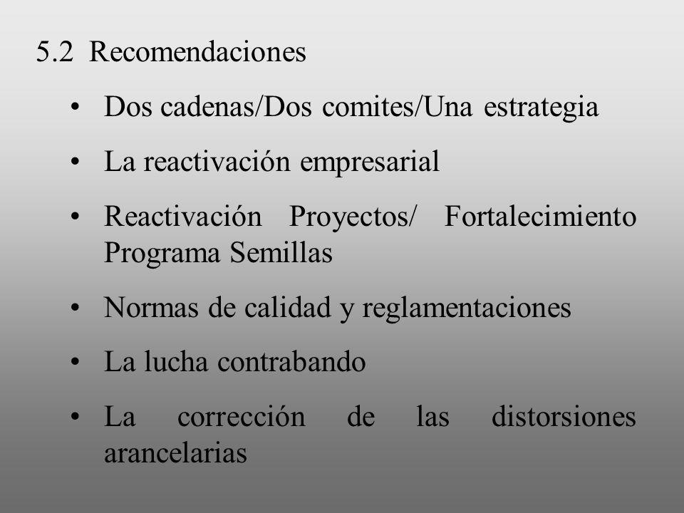 5.2 Recomendaciones Dos cadenas/Dos comites/Una estrategia La reactivación empresarial Reactivación Proyectos/ Fortalecimiento Programa Semillas Norma
