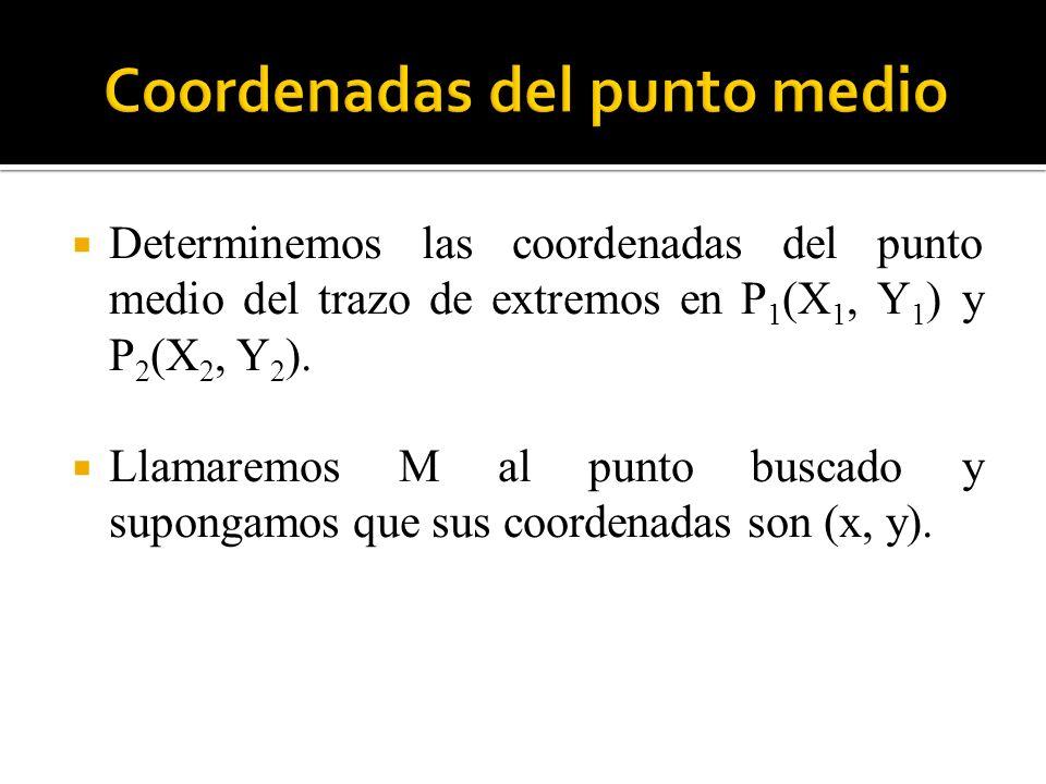 Determinemos las coordenadas del punto medio del trazo de extremos en P 1 (X 1, Y 1 ) y P 2 (X 2, Y 2 ). Llamaremos M al punto buscado y supongamos qu