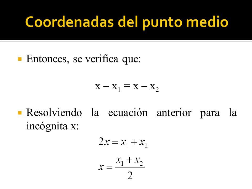 Entonces, se verifica que: x – x 1 = x – x 2 Resolviendo la ecuación anterior para la incógnita x: