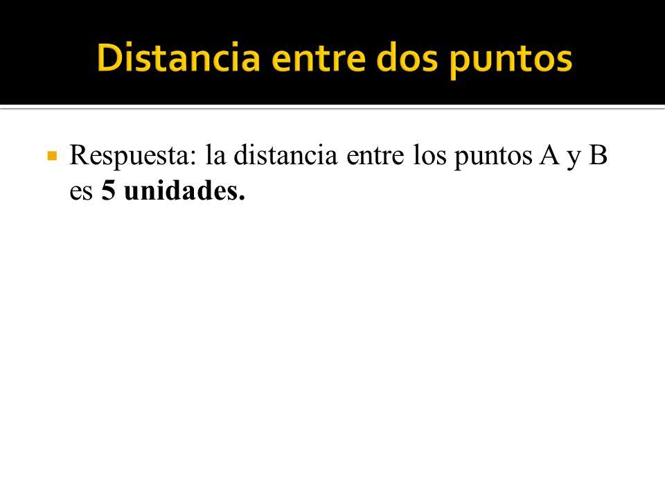 Respuesta: la distancia entre los puntos A y B es 5 unidades.