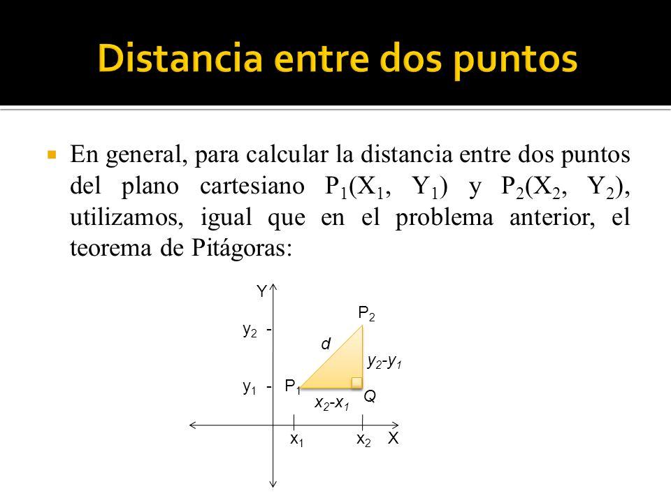 En general, para calcular la distancia entre dos puntos del plano cartesiano P 1 (X 1, Y 1 ) y P 2 (X 2, Y 2 ), utilizamos, igual que en el problema a