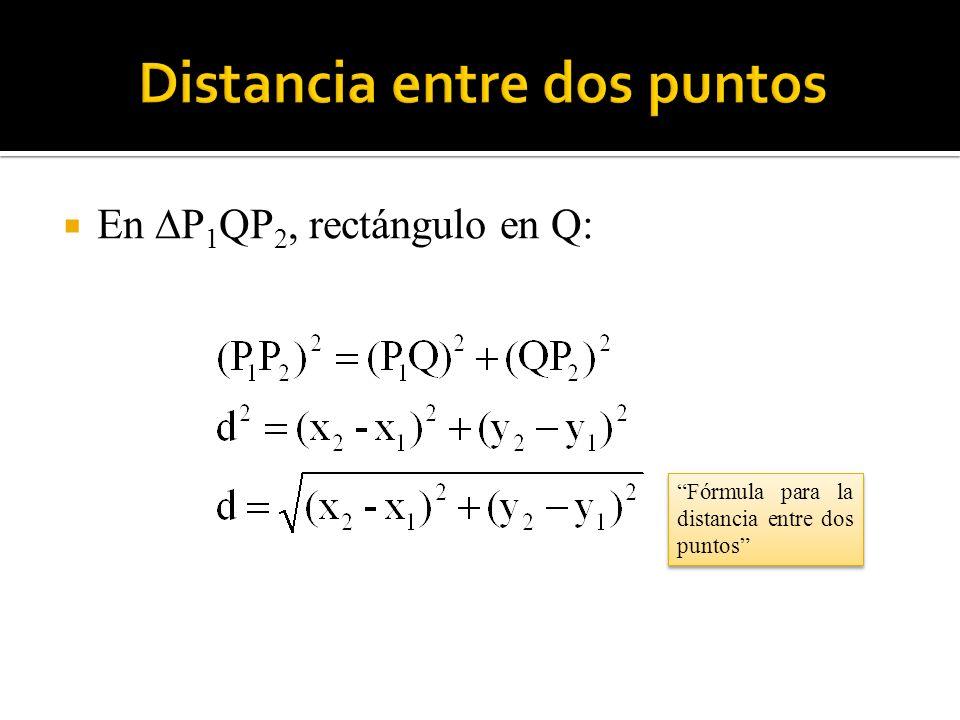 En P 1 QP 2, rectángulo en Q: Fórmula para la distancia entre dos puntos