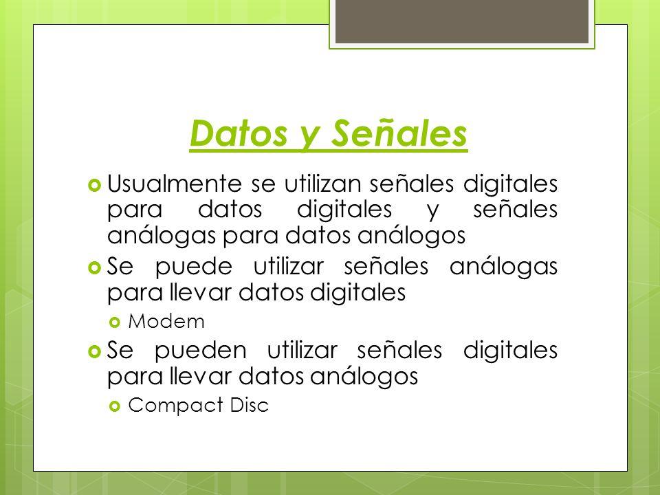Datos y Señales Usualmente se utilizan señales digitales para datos digitales y señales análogas para datos análogos Se puede utilizar señales análoga