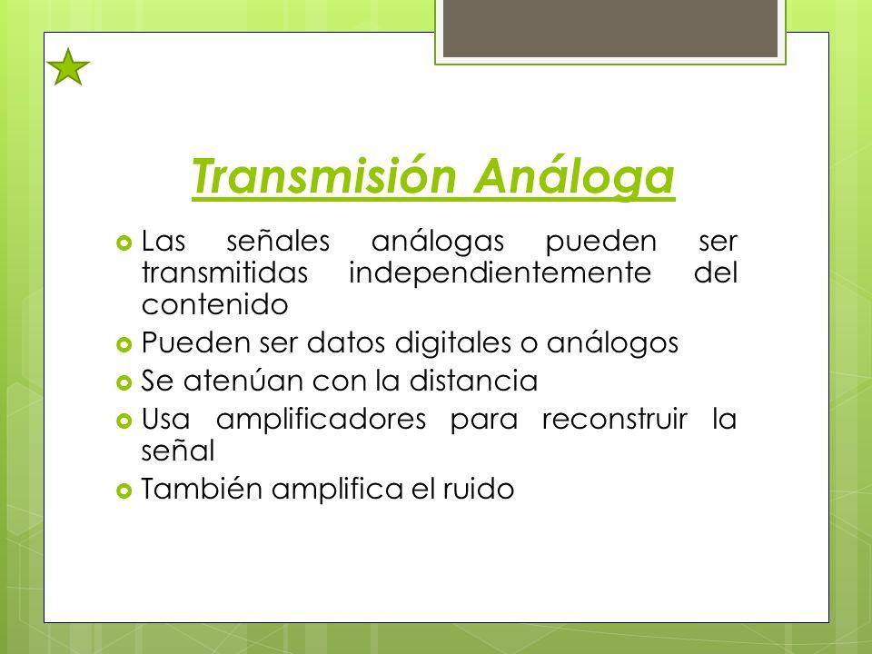 Transmisión Análoga Las señales análogas pueden ser transmitidas independientemente del contenido Pueden ser datos digitales o análogos Se atenúan con