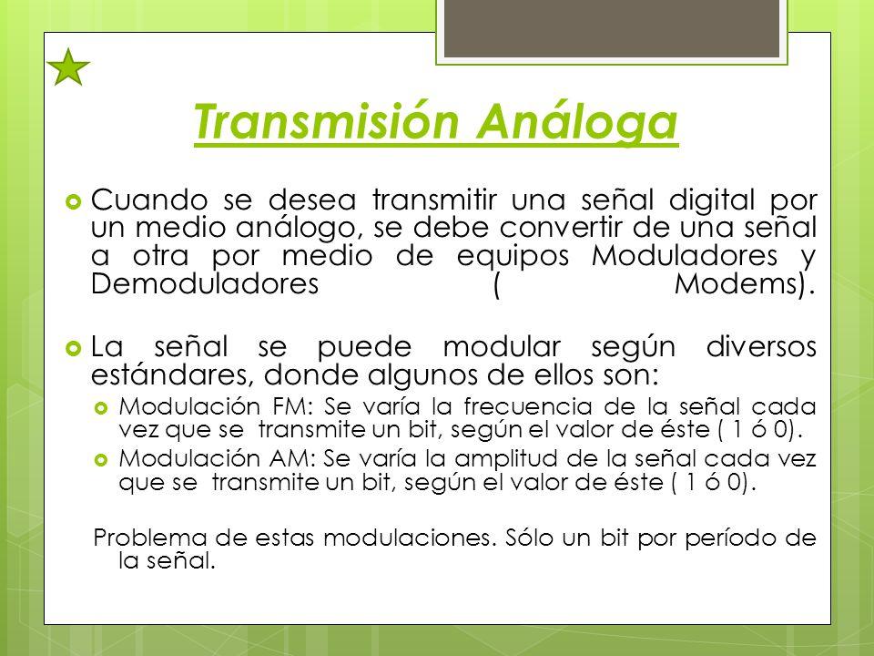 Transmisión Análoga Cuando se desea transmitir una señal digital por un medio análogo, se debe convertir de una señal a otra por medio de equipos Modu