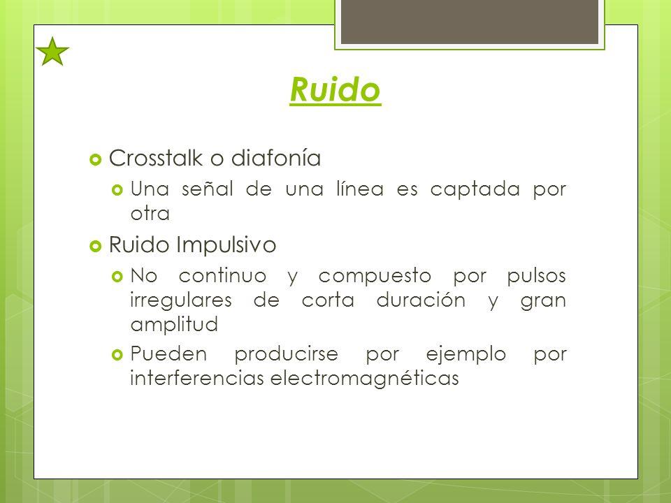 Ruido Crosstalk o diafonía Una señal de una línea es captada por otra Ruido Impulsivo No continuo y compuesto por pulsos irregulares de corta duración