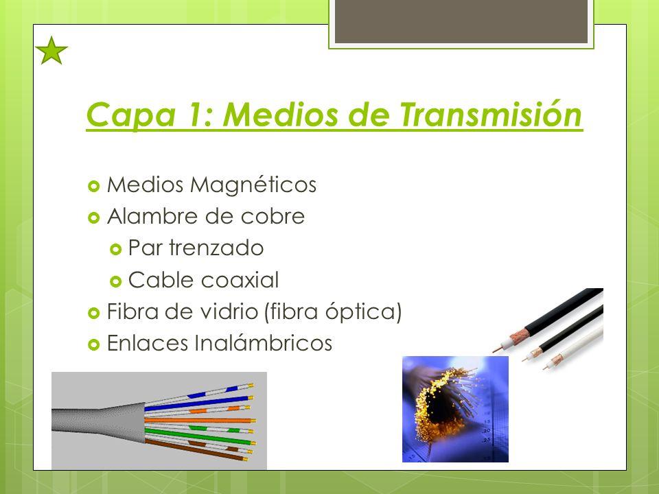 Capa 1: Medios de Transmisión Medios Magnéticos Alambre de cobre Par trenzado Cable coaxial Fibra de vidrio (fibra óptica) Enlaces Inalámbricos