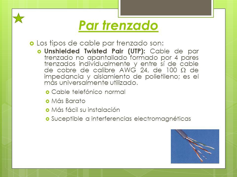 Par trenzado Los tipos de cable par trenzado son: Unshielded Twisted Pair (UTP): Cable de par trenzado no apantallado formado por 4 pares trenzados in