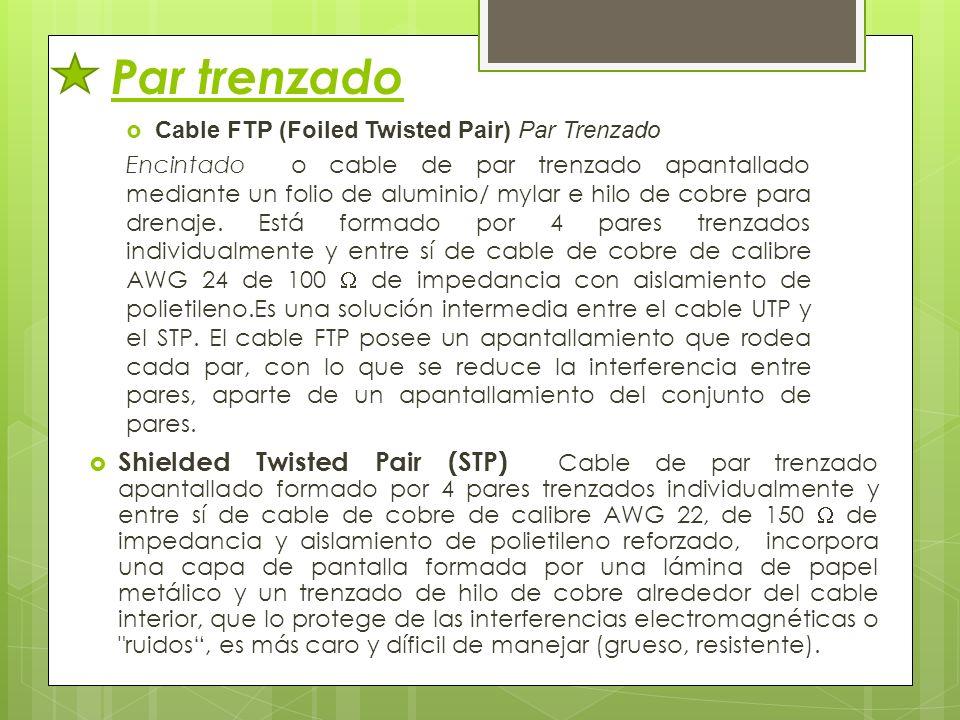 Par trenzado Cable FTP (Foiled Twisted Pair) Par Trenzado Encintado o cable de par trenzado apantallado mediante un folio de aluminio/ mylar e hilo de