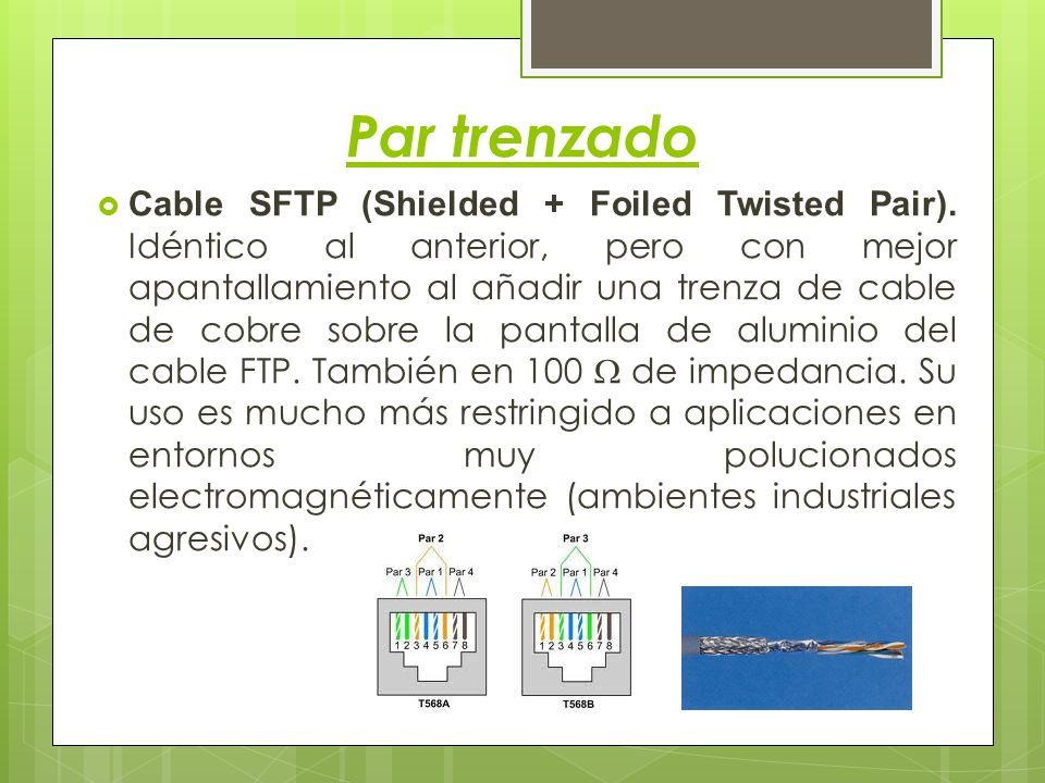 Par trenzado Cable SFTP (Shielded + Foiled Twisted Pair). Idéntico al anterior, pero con mejor apantallamiento al añadir una trenza de cable de cobre