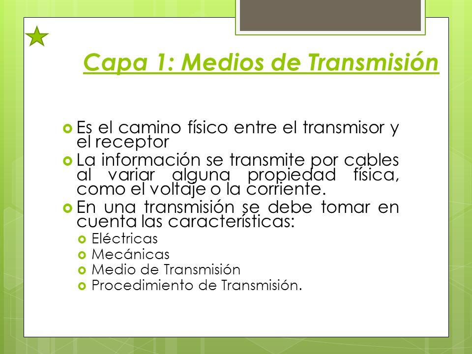 Capa 1: Medios de Transmisión Es el camino físico entre el transmisor y el receptor La información se transmite por cables al variar alguna propiedad