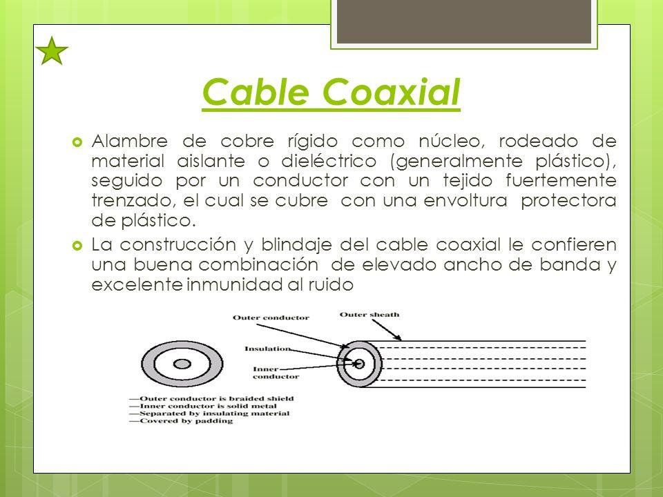 Cable Coaxial Alambre de cobre rígido como núcleo, rodeado de material aislante o dieléctrico (generalmente plástico), seguido por un conductor con un