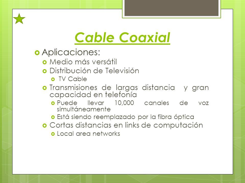 Cable Coaxial Aplicaciones: Medio más versátil Distribución de Televisión TV Cable Transmisiones de largas distancia y gran capacidad en telefonía Pue