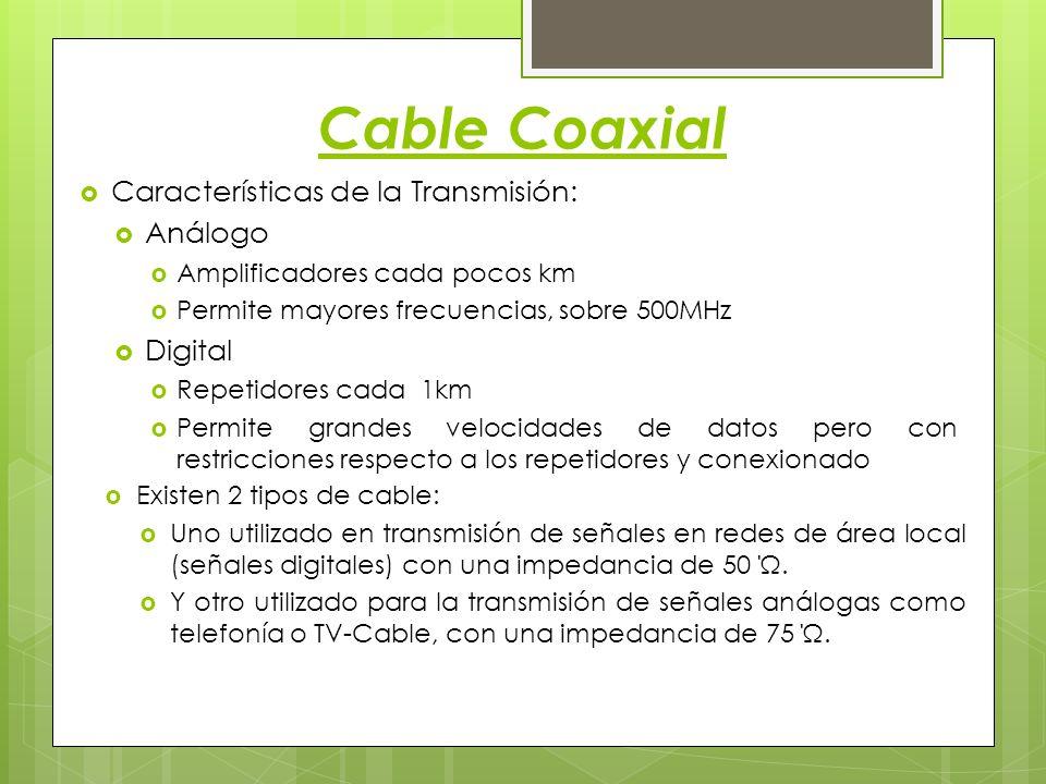 Cable Coaxial Características de la Transmisión: Análogo Amplificadores cada pocos km Permite mayores frecuencias, sobre 500MHz Digital Repetidores ca