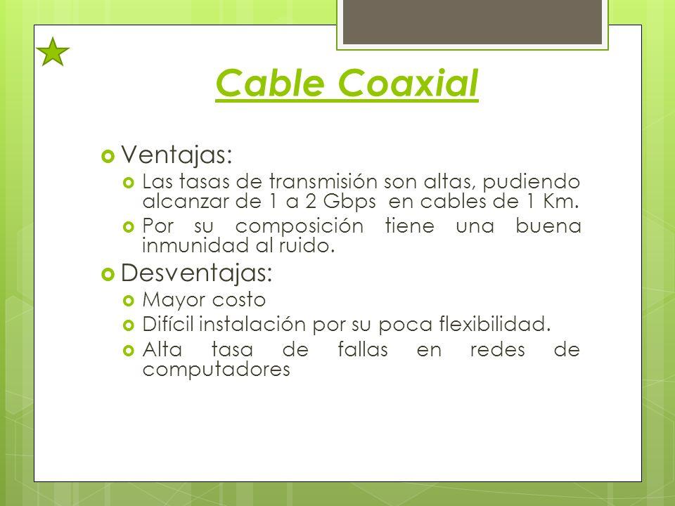 Cable Coaxial Ventajas: Las tasas de transmisión son altas, pudiendo alcanzar de 1 a 2 Gbps en cables de 1 Km. Por su composición tiene una buena inmu