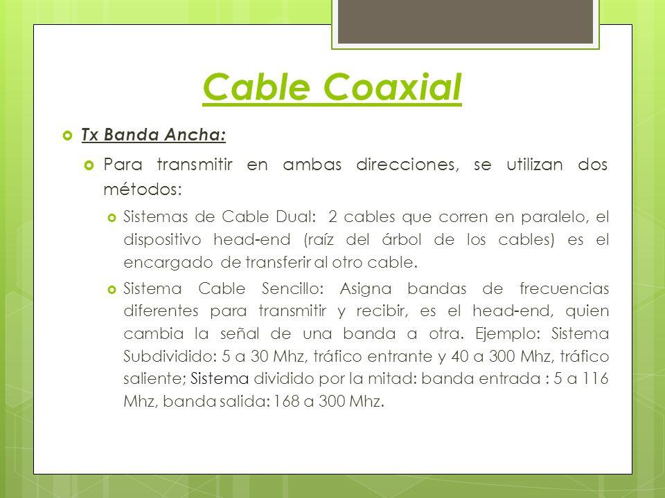 Cable Coaxial Tx Banda Ancha: Para transmitir en ambas direcciones, se utilizan dos métodos: Sistemas de Cable Dual: 2 cables que corren en paralelo,