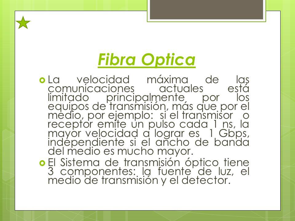 Fibra Optica La velocidad máxima de las comunicaciones actuales está limitado principalmente por los equipos de transmisión, más que por el medio, por