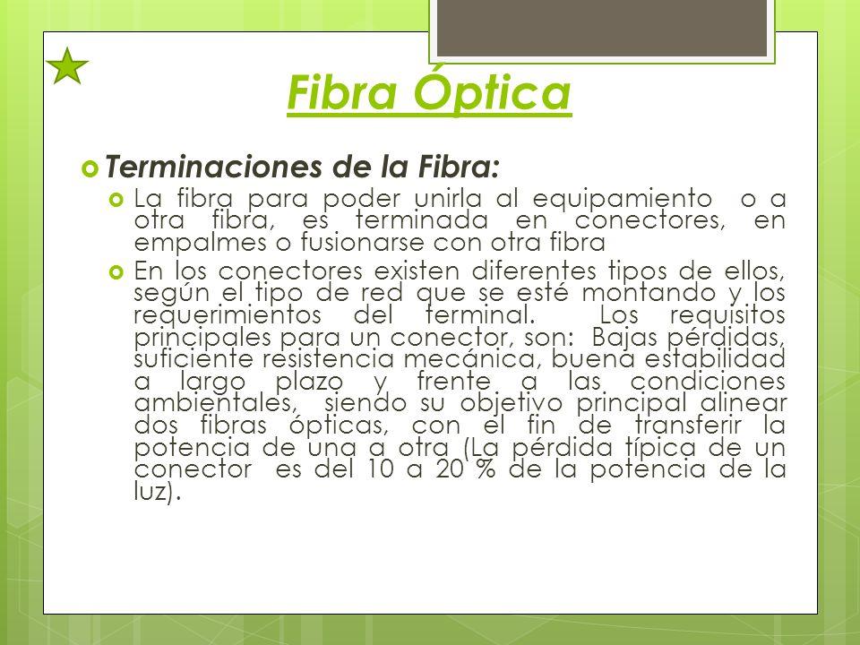 Fibra Óptica Terminaciones de la Fibra: La fibra para poder unirla al equipamiento o a otra fibra, es terminada en conectores, en empalmes o fusionars