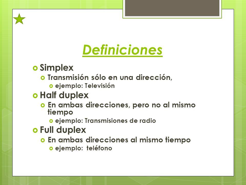 Definiciones Simplex Transmisión sólo en una dirección, ejemplo: Televisión Half duplex En ambas direcciones, pero no al mismo tiempo ejemplo: Transmi