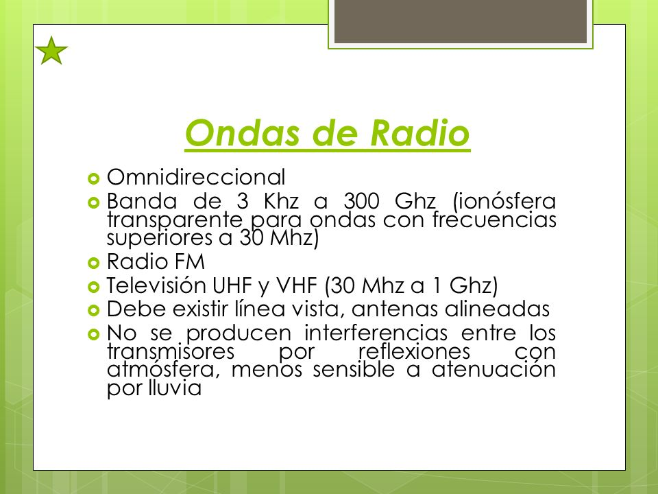 Ondas de Radio Omnidireccional Banda de 3 Khz a 300 Ghz (ionósfera transparente para ondas con frecuencias superiores a 30 Mhz) Radio FM Televisión UH