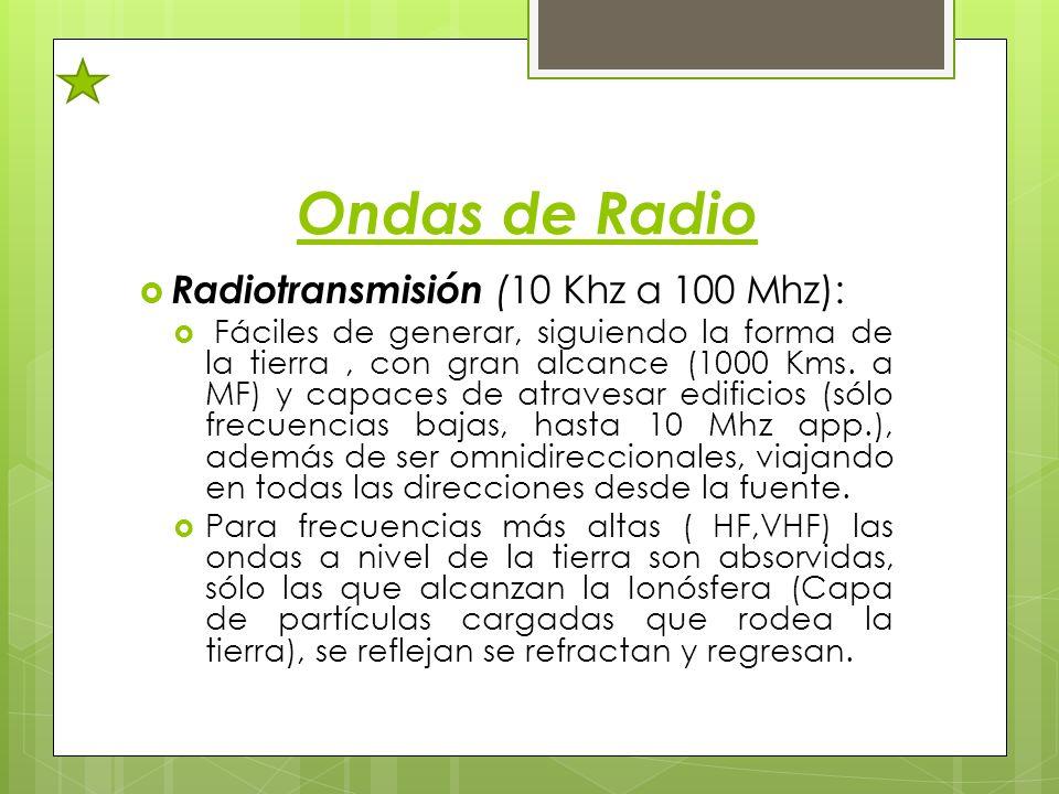 Ondas de Radio Radiotransmisión (10 Khz a 100 Mhz): Fáciles de generar, siguiendo la forma de la tierra, con gran alcance (1000 Kms. a MF) y capaces d