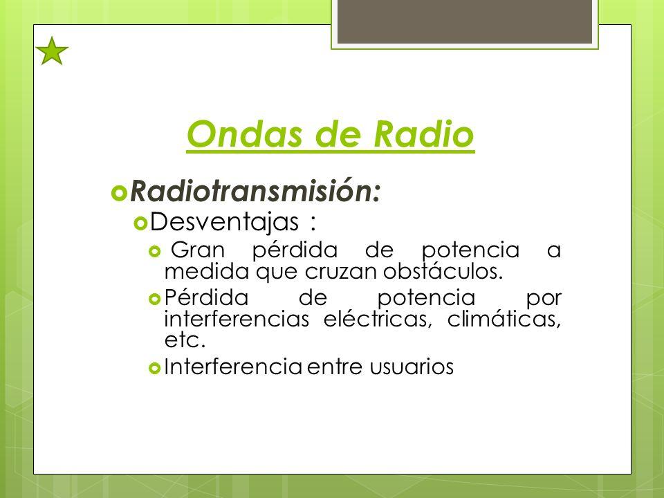 Ondas de Radio Radiotransmisión: Desventajas : Gran pérdida de potencia a medida que cruzan obstáculos. Pérdida de potencia por interferencias eléctri