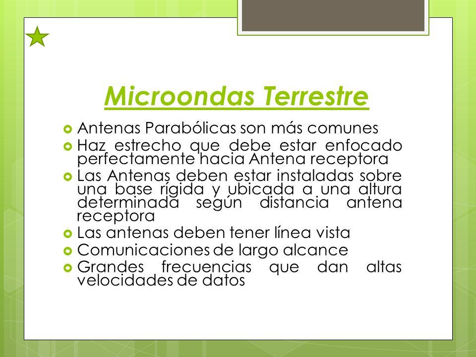 Microondas Terrestre Antenas Parabólicas son más comunes Haz estrecho que debe estar enfocado perfectamente hacia Antena receptora Las Antenas deben e