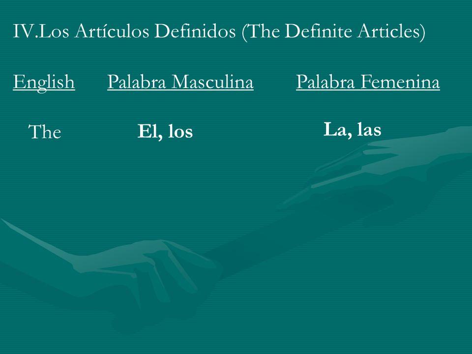 IV.Los Artículos Definidos (The Definite Articles) EnglishPalabra MasculinaPalabra Femenina The El, los La, las