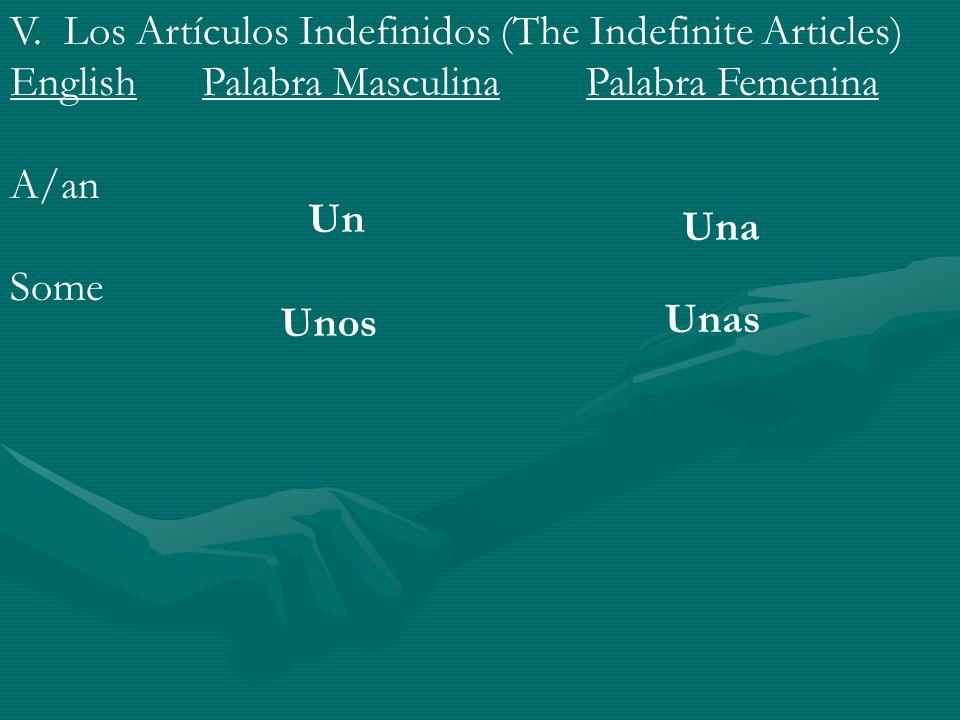 V. Los Artículos Indefinidos (The Indefinite Articles) EnglishPalabra MasculinaPalabra Femenina A/an Some Un Una Unos Unas