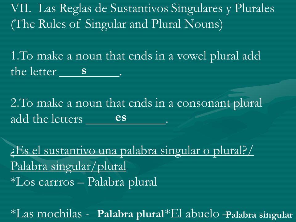 VIII.Examen de Comprensión (Test of Comprehension) *Categorize the nouns as masculine or feminine.