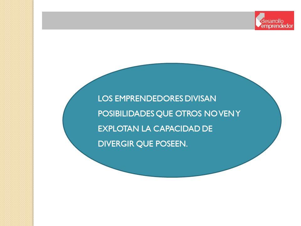 LOS EMPRENDEDORES DIVISAN POSIBILIDADES QUE OTROS NO VEN Y EXPLOTAN LA CAPACIDAD DE DIVERGIR QUE POSEEN.