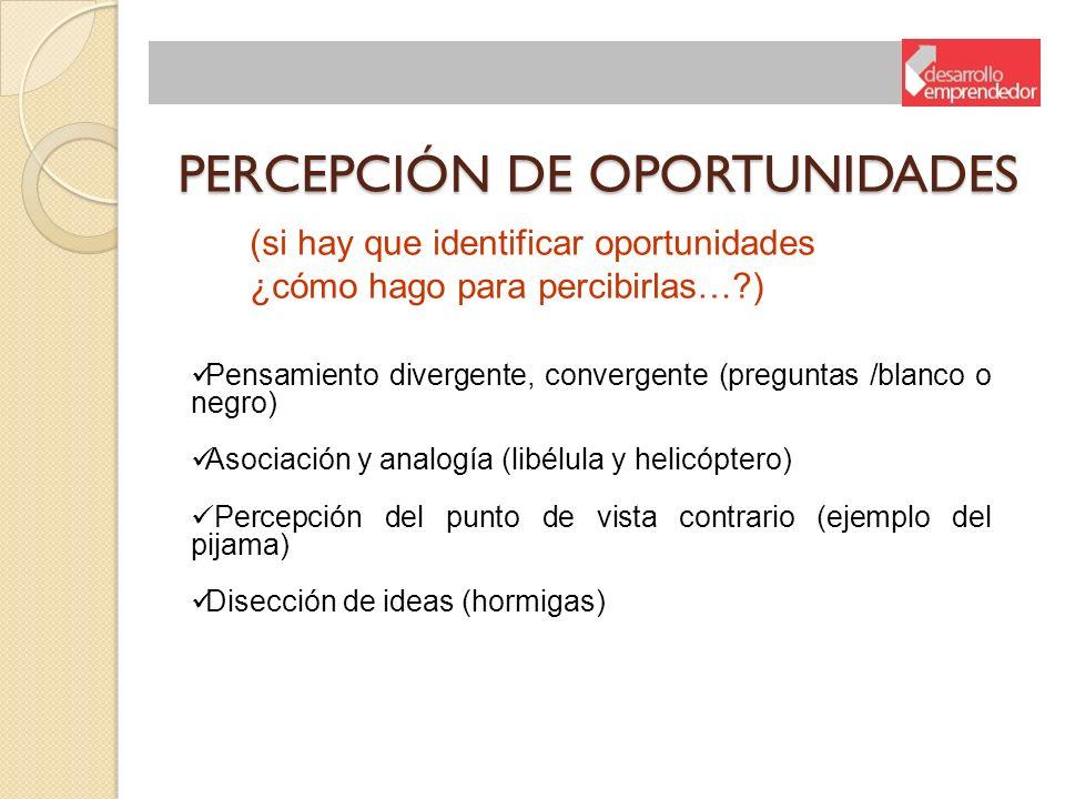 PERCEPCIÓN DE OPORTUNIDADES (si hay que identificar oportunidades ¿cómo hago para percibirlas…?) Pensamiento divergente, convergente (preguntas /blanc