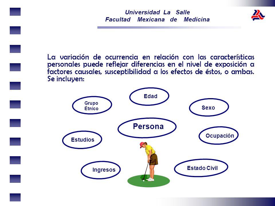 Universidad La Salle Facultad Mexicana de Medicina La variación de ocurrencia en relación con las características personales puede reflejar diferencia