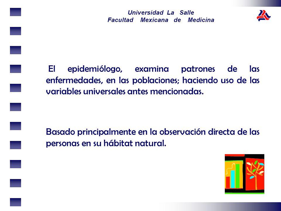 Universidad La Salle Facultad Mexicana de Medicina El epidemiólogo, examina patrones de las enfermedades, en las poblaciones; haciendo uso de las vari